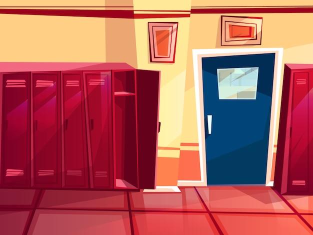 Locker room illustration of gym or school sport changing room. Free Vector
