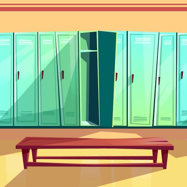 Locker room illustration of seamless gym or school sport changing room. Free Vector