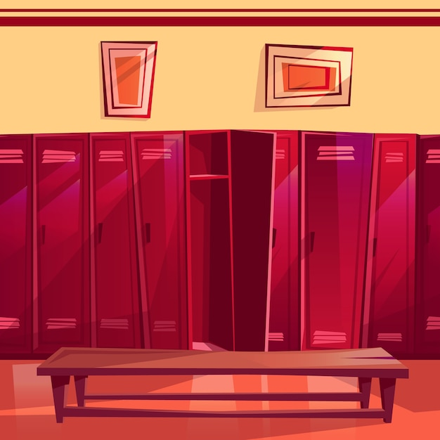 Locker room illustration of seamless gym or school sport changing room. Free Vector