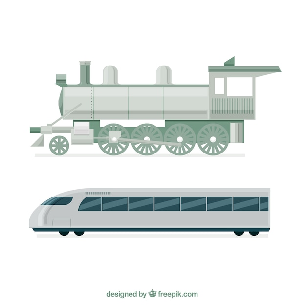 Locomotive And Modern Train In Flat Design Free Vector