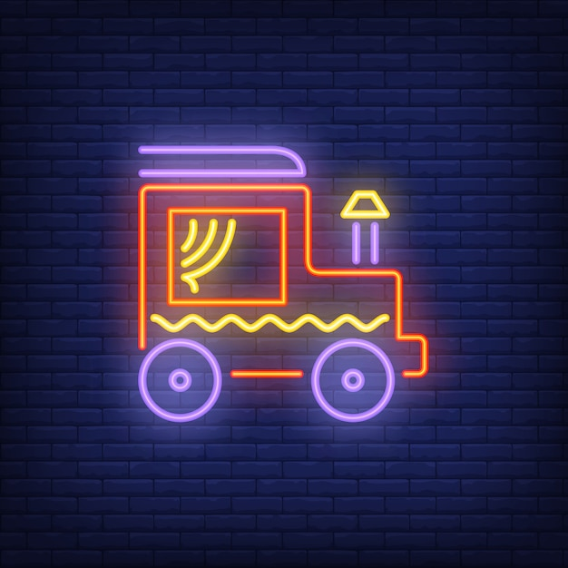 Locomotive with chimney neon sign Free Vector
