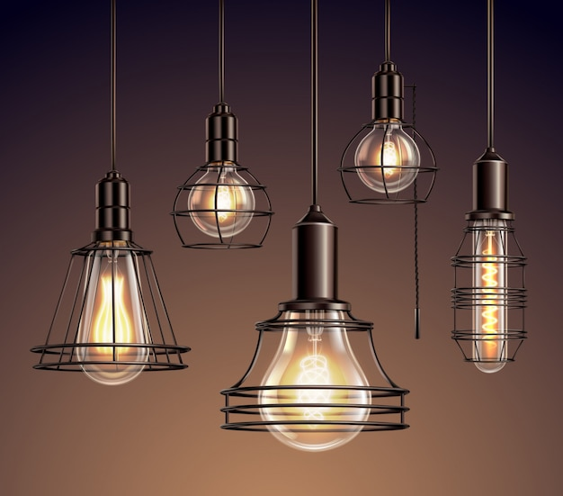 Loft edison vintage metal wire frame hanging  lamps with soft glowing light bulbs realistic set Free Vector