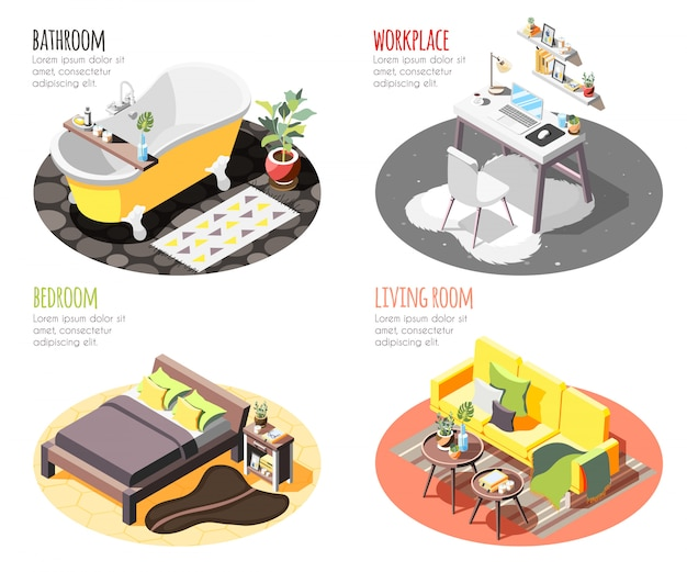Loft interior isometric 4x1 set of compositions with images of domestic spots with furniture and text Free Vector