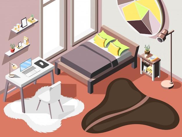 Лофт интерьер изометрического фона с внутренней композицией гостиной мебели двуспальная кровать и небольшое рабочее место Бесплатные векторы