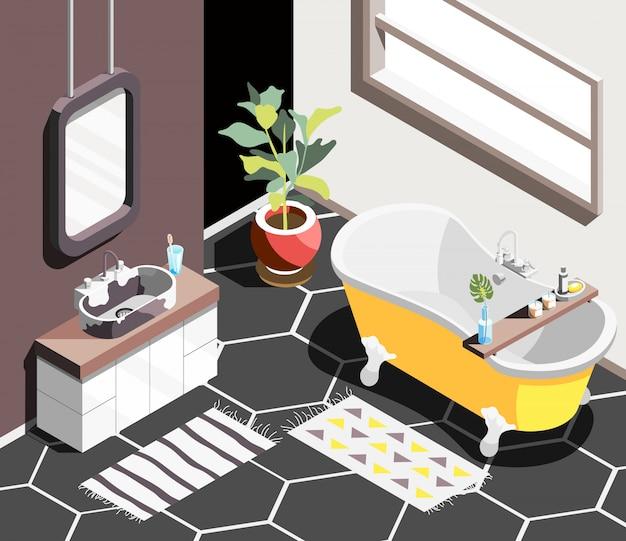 Fondo isometrico interno del sottotetto con l'ambiente moderno del bagno con il bagno della finestra orizzontale e lavandino con lo specchio Vettore gratuito