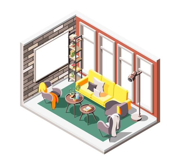 Composizione isometrica interna a soppalco con ambiente salotto interno con finestre con sedili morbidi e schermo di proiezione Vettore gratuito