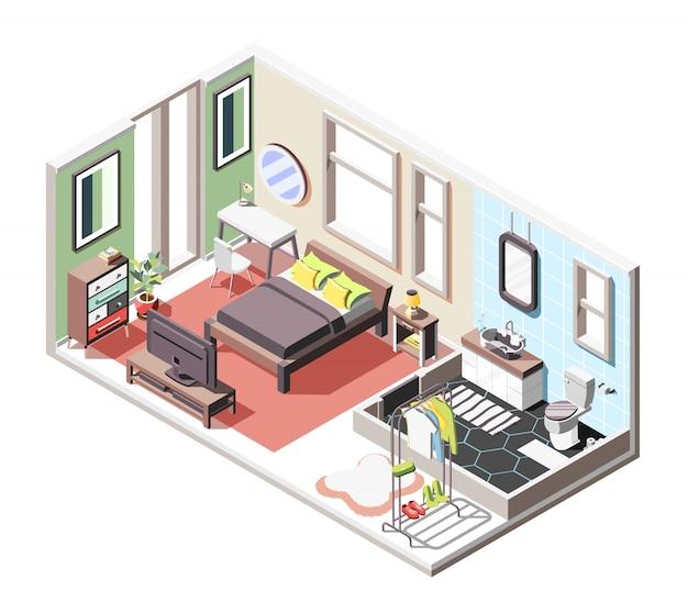 Composizione isometrica interna a soppalco con vista interna del soggiorno e bagno con mobili e finestre Vettore gratuito