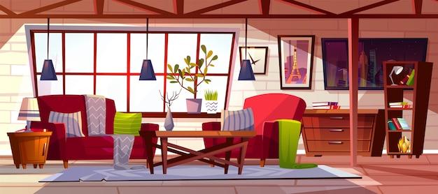 Лофт салон интерьер иллюстрации. современная уютная просторная крыша с мансардным апартаментом Бесплатные векторы