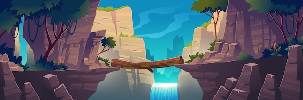 Log bridge between mountains above cliff in rock peaks landscape with waterfall and trees background. beautiful scenery nature view, beam bridgework connect rocky edges, cartoon vector illustration Free Vector