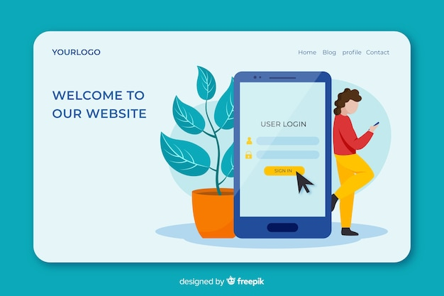 Log in concept for landing page Free Vector