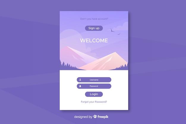 Войти дизайн целевой страницы Бесплатные векторы