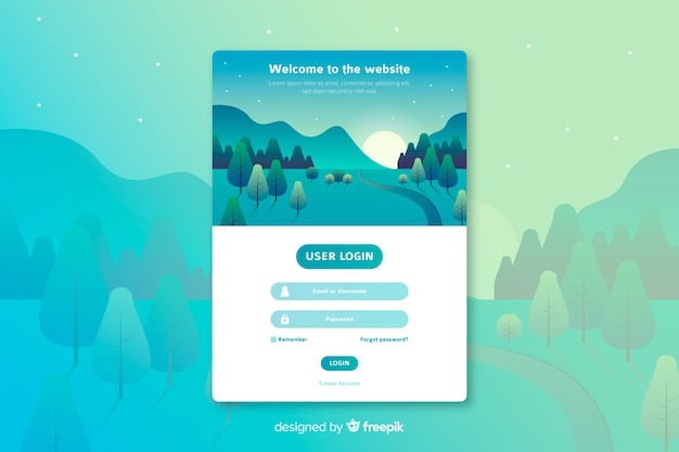 Log in landing page web template Free Vector