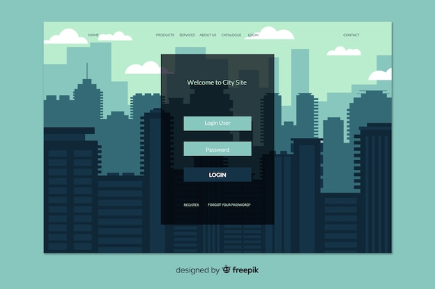 Log in landing page with city background Free Vector