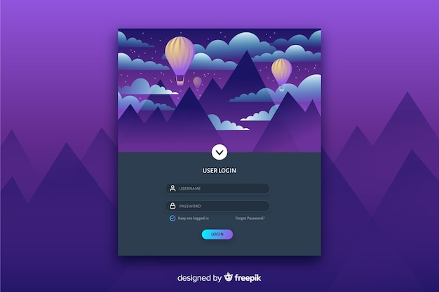 Log in landing page with colorful flat landscape Free Vector