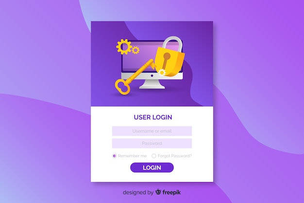 Log in landing page with email and password Free Vector