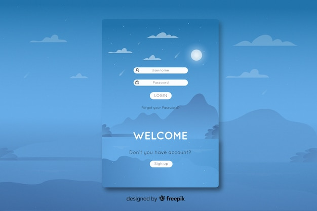 Log in landing page with flat design landscape background Free Vector