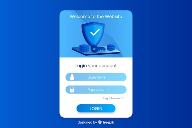 Log in landing page with flat design Free Vector