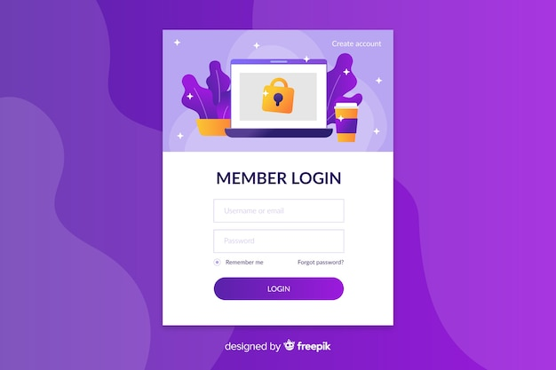 Log in landing page with icons Free Vector