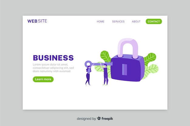 Log in landing page with key and lock Free Vector