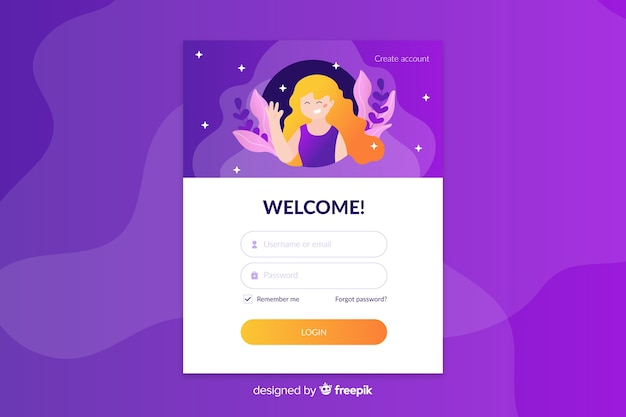 Log in landing page with smiling character Free Vector