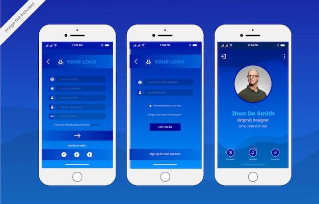 Log in mobile interface template Premium Vector