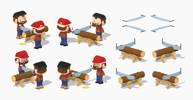 Log sawing on the 3d lowpoly isometric work bench Premium Vector