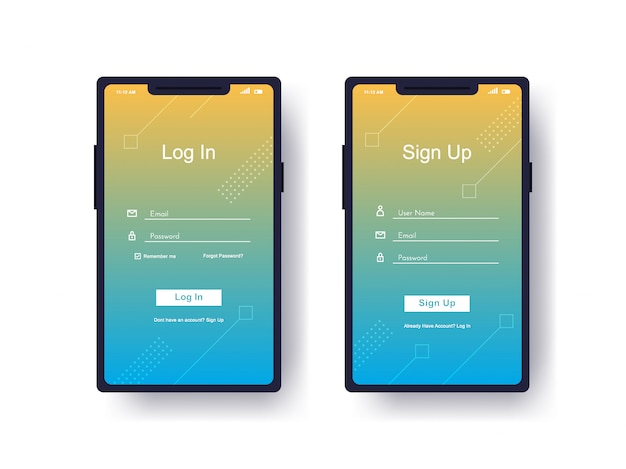 Log in, sign up user interface Premium Vector