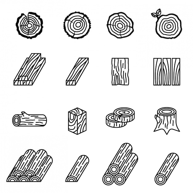 Logging and wood icon set with white background. Premium Vector