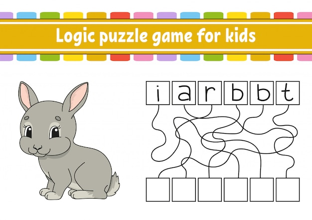 Logic puzzle game. learning words for kids. find the hidden name. Premium Vector