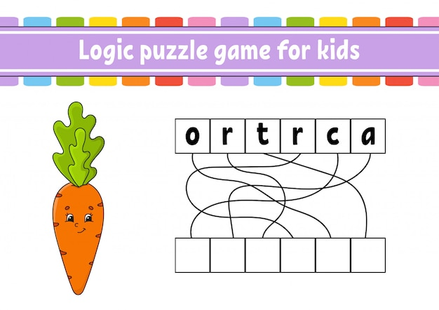Logic puzzle game, learning words for kids Premium Vector