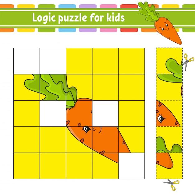 Logic puzzle for kids. Premium Vector