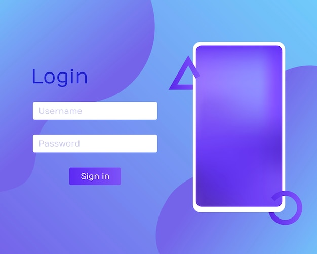 Login application with password from window via phone. clean mobile ui  . trendy holographic gradients. flat web icons. modern  illustration Premium Vector