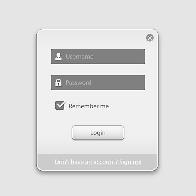 Modulo di login box Vettore gratuito
