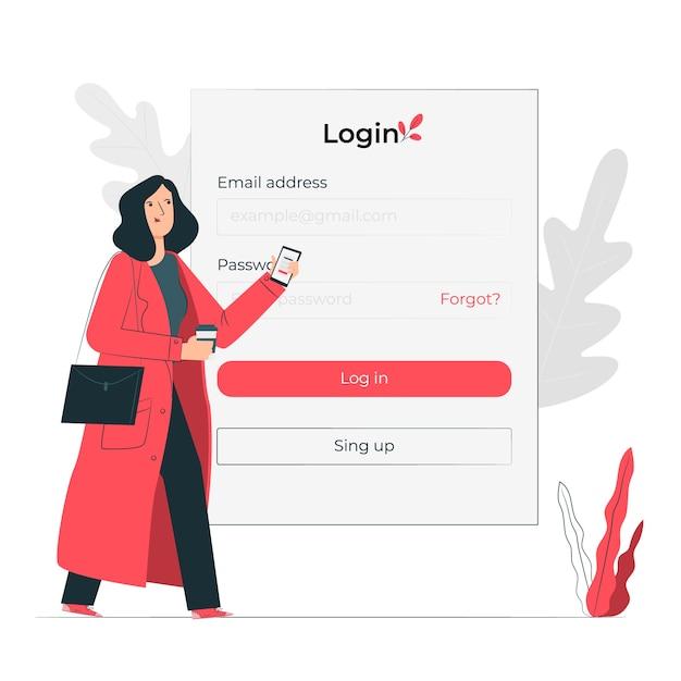 Login concept illustration Free Vector