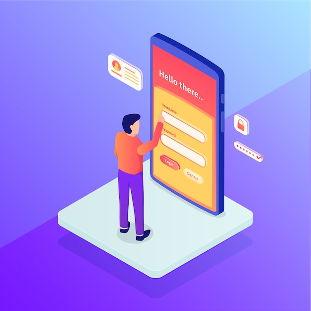 Login concept with security username and password people standing access with isometric Premium Vector