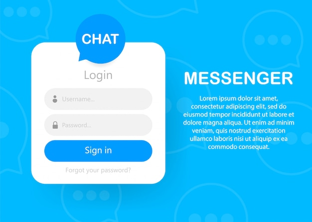 Login form icon  login form page  chat authorization Premium Vector
