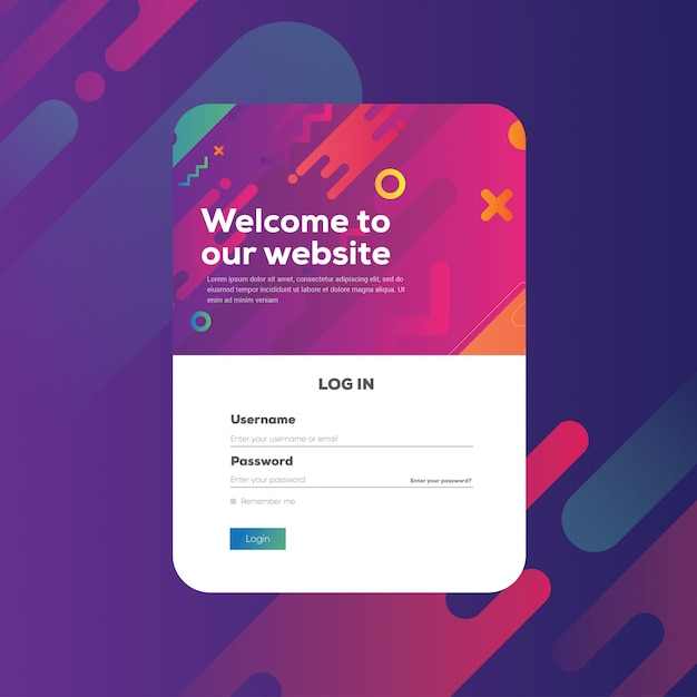 Login form page concept abstract gradient vibrant shape modern background. web site template, ui ux element, illustration Premium Vector