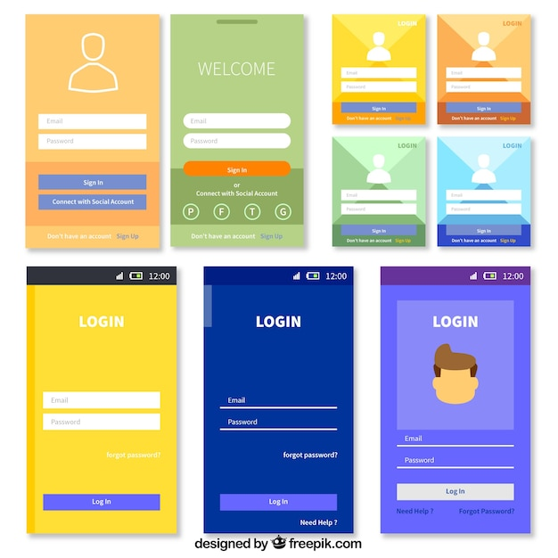 Login form template collection Free Vector