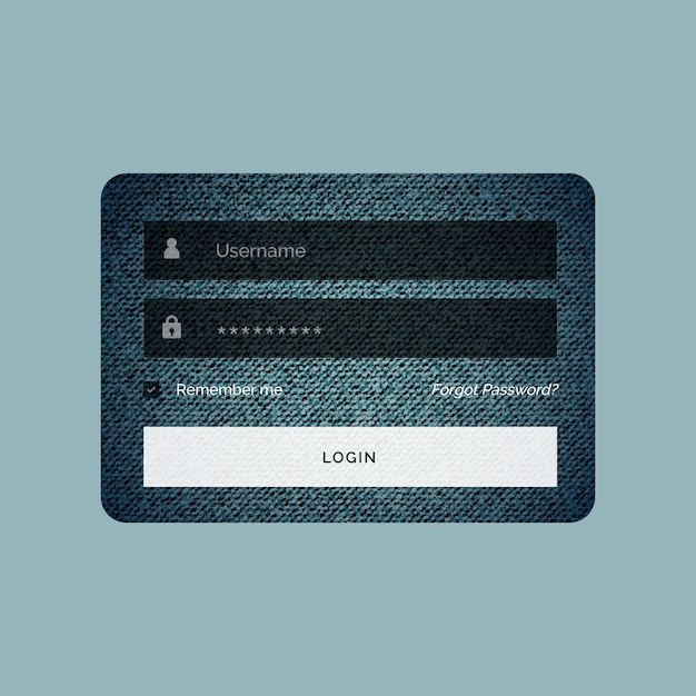 Login form template in jeans texture style Free Vector