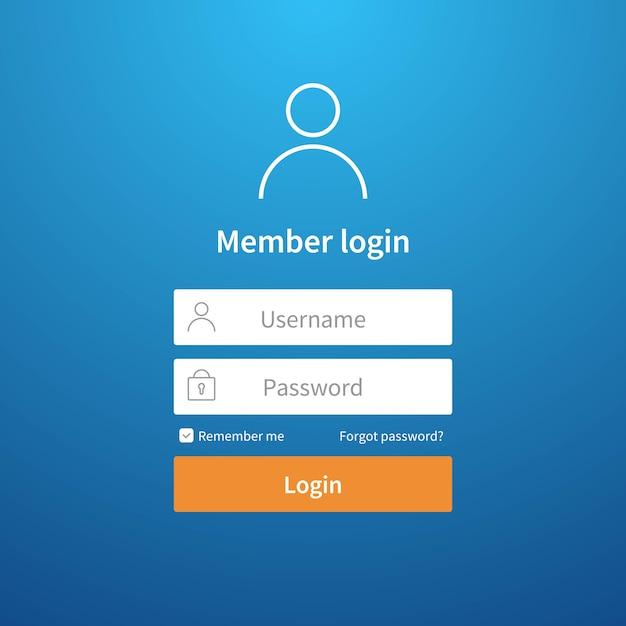 Login form. website ui account screen page register user ...