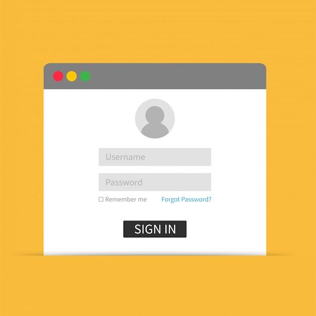 ログインインターフェイス、ユーザー名、パスワード。 webデザインのベクトルイラストテンプレート Premiumベクター