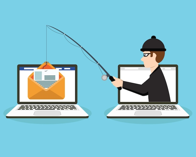Login into account in email envelope and fishing hook Premium Vector