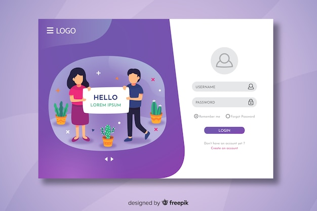 Login landing page with hello text Free Vector