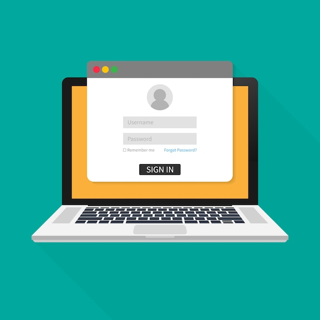 Login page on laptop screen. notebook and online login form, sign in page. user profile, access to account concepts. vector illustration. Premium Vector
