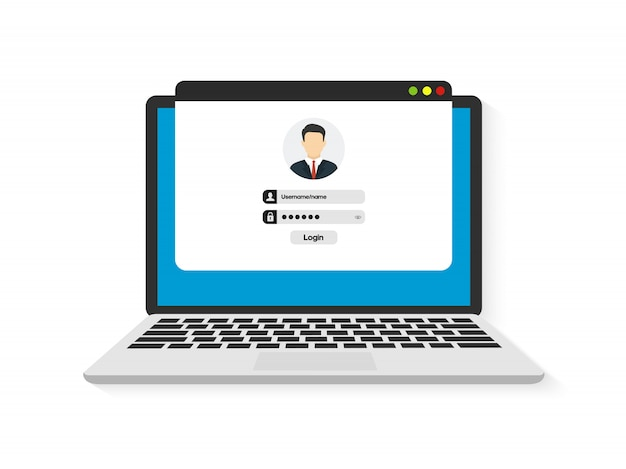 Login and password. authentication login form system Premium Vector