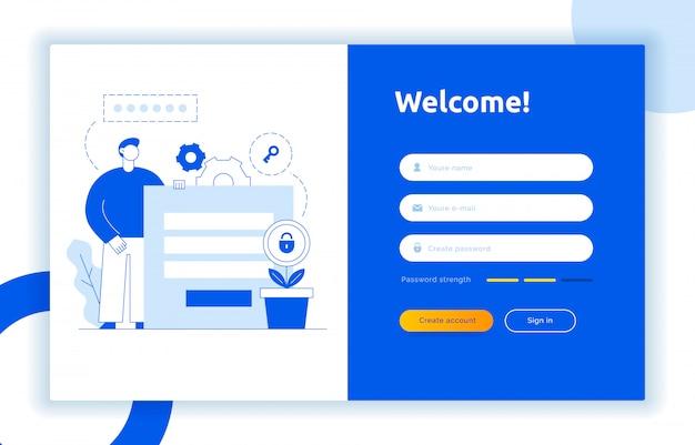 Login ui ux design concept and illustration Premium Vector