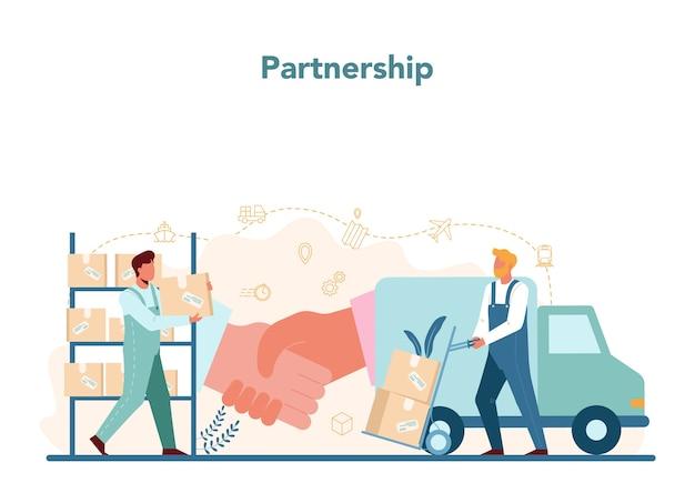 ロジスティックおよびデリバリーサービスのコンセプト。輸送と流通のアイデア。 Premiumベクター