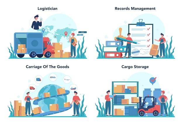 物流と配送サービスのコンセプトセット。輸送と流通のアイデア。貨物を配達する制服のローダー。輸送サービスの概念。 Premiumベクター
