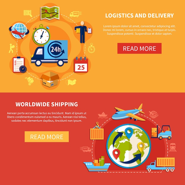 Logistic banner composition Premium Vector