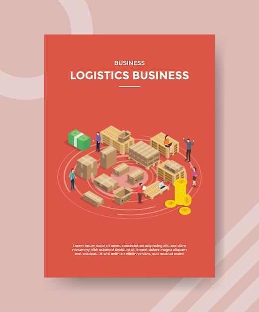 Uomini d'affari logistici che lavorano prodotto confezionato per modello di volantino Vettore gratuito